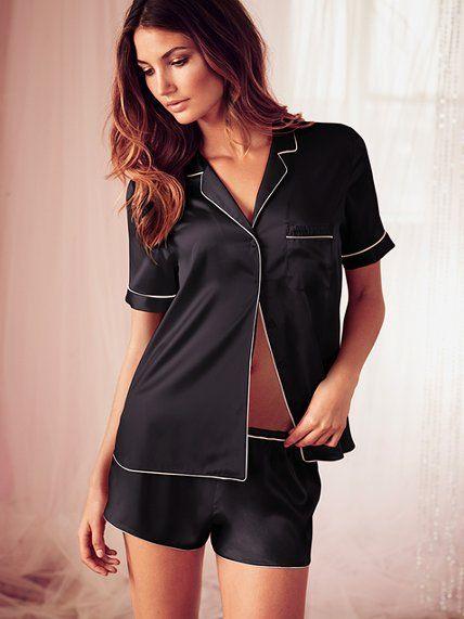 Satin Boxer Pajama Set in Black or Red/Pink Stripe