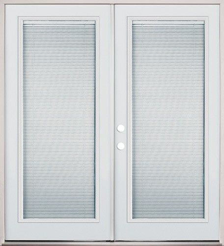 Mini blind full lite steel patio pre hung double door unit for Double hung exterior french doors