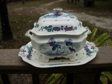 Antique Spode Bude Multicolor Tureen, Cover and Underplate Mark 1891-1900+