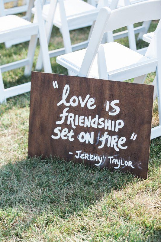Love Quote Wedding Aisle Marker Idea Wooden Signs Love Is A Friendship Set On Fire Amelia Lawrence Weddin Wooden Wedding Signs Aisle Markers Wedding Aisle