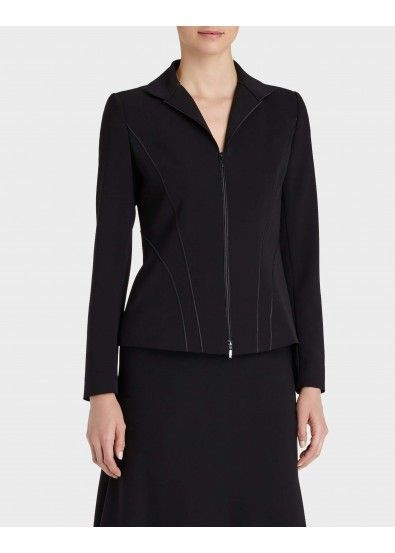 A wing collar which is my favorite, and clean lines through the body. Sleek Tech Cloth Kat Jacket
