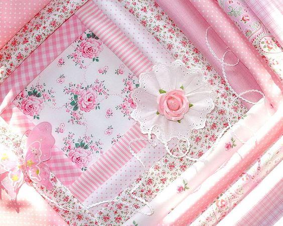 **Traumblümchen in Zartrosa......*     ******************   10 feine Patchworkstoffe, mit zierlichen Mustern in zart-rosa Farbtönen: Allerschönstes...