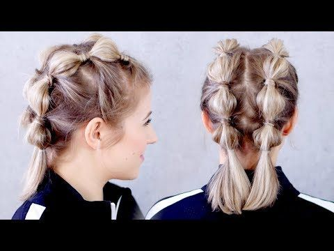 Super Easy Gym Workout Hairstyle For Short Hair Milabu Short Hair Tutorial Short Hair Updo Braids For Short Hair