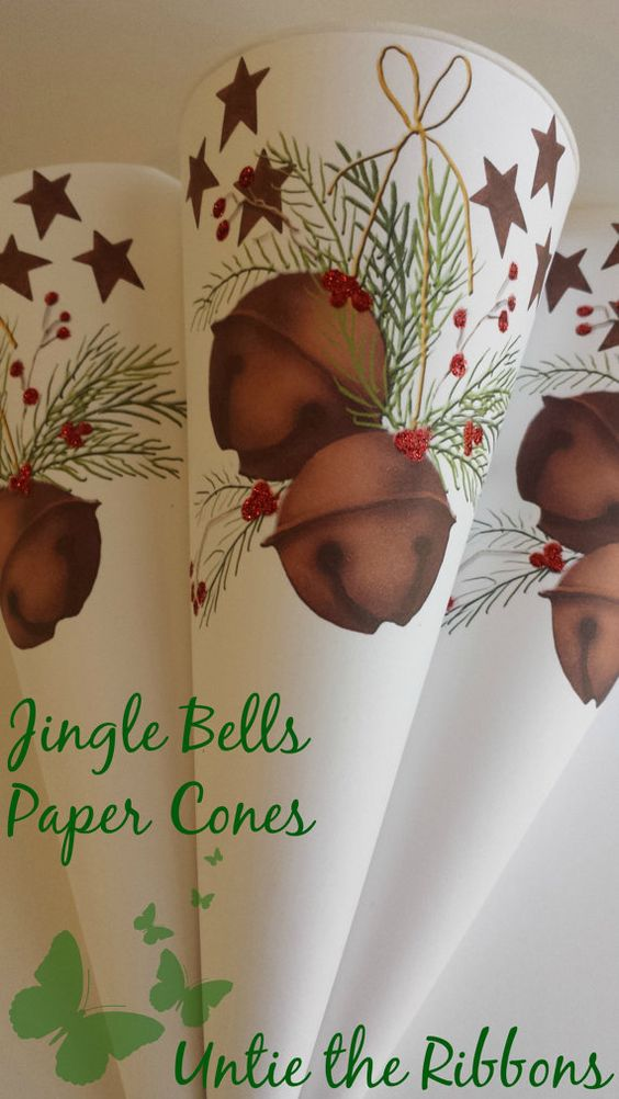 White Paper Cones  Jingle Bells Standard Size by UntietheRibbons