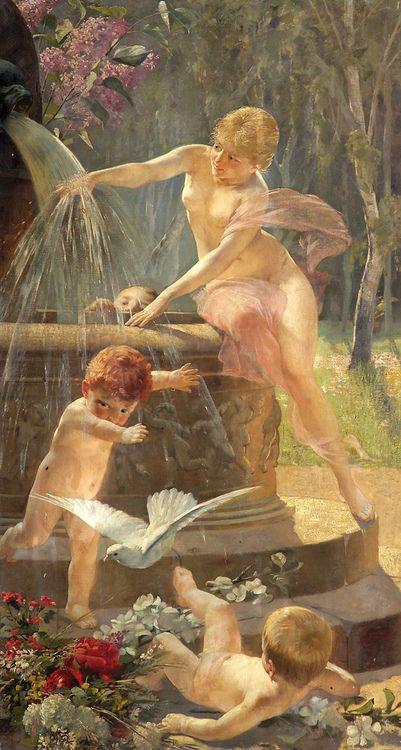 Cesar Philipp (German, b.1859), ;Cherubs and a fairy at a fountain
