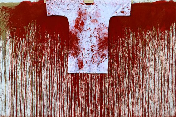 Hermann Nitsch, 2016 Acrylic on Canvas (with painted Shirt) 78.7 x 118 inches (200 x 300cm) - Marc Straus Gallery