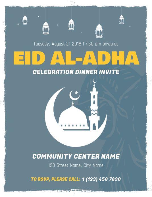 Eid Ul Adha Dinner Invite Flyer Template Eid Card Template Eid Poster Template