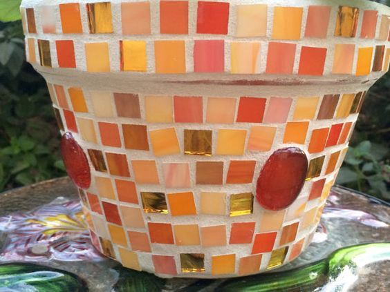"Mosaic pots- Orange, Red and Yellow flower pot 8.5"" Diameter"