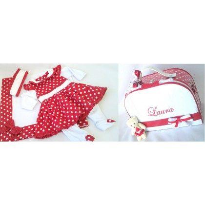Saida de Maternidade + Bolsa M personalizadas, Vermelho com Poás Brancos.