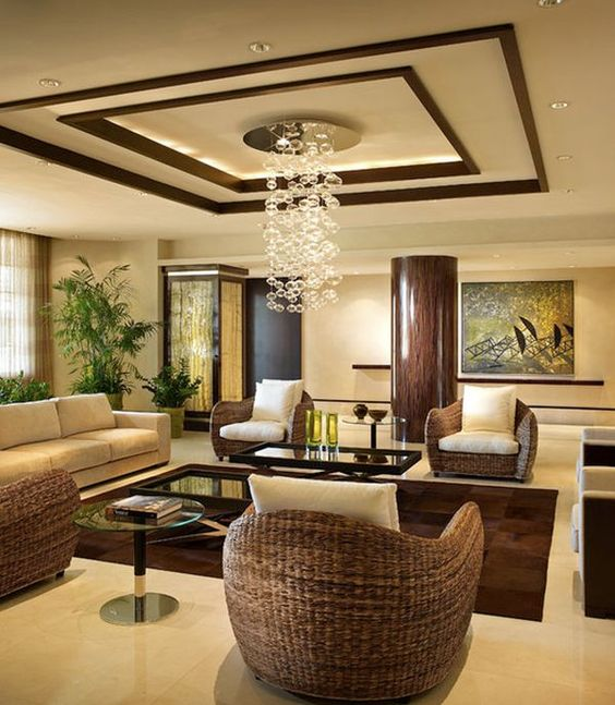 Warm Living Room Ideas: Warm Living Room With Intricate Ceiling Design And Gentle