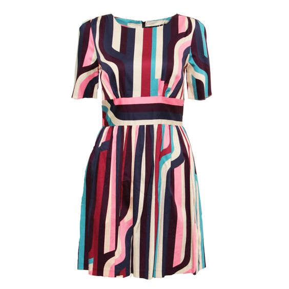 Abstract Stripe Pleat Dress
