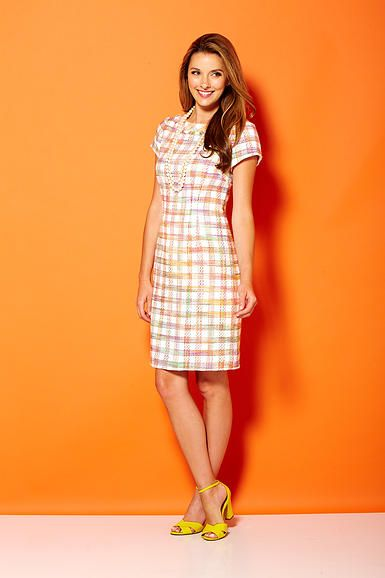 Cap sleeve tweed dress with rolled collar and self fringe