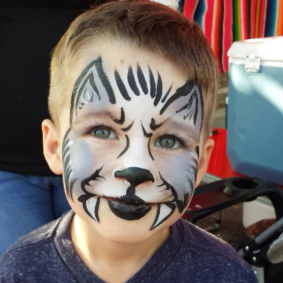 Kaydens wolf costume face paint face paint ideas - Pintura cara halloween ...