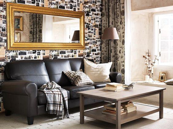 YSTAD three-seat sofa in Grann dark brown leather, HEMNES grey - hemnes wohnzimmer weis