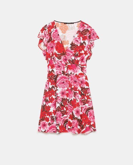 Zara Dan 6 Cicek Desenli Elbise Resmi Floral Print Dress Dresses Floral Tops