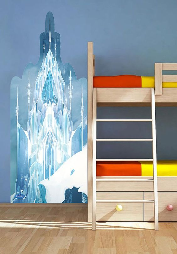 Frozen ice castle wall sticker room mates popular for Castle wall mural sticker
