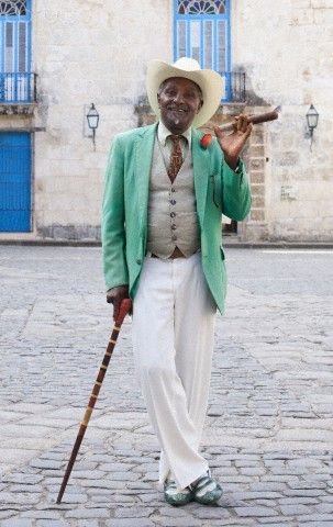 Cuban man smoking cigar
