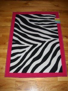Amazon.com: Girls Bedroom Decor Black White Zebra Stripe Throw Rug with Hot  Pink