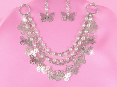silver butterfly necklace set