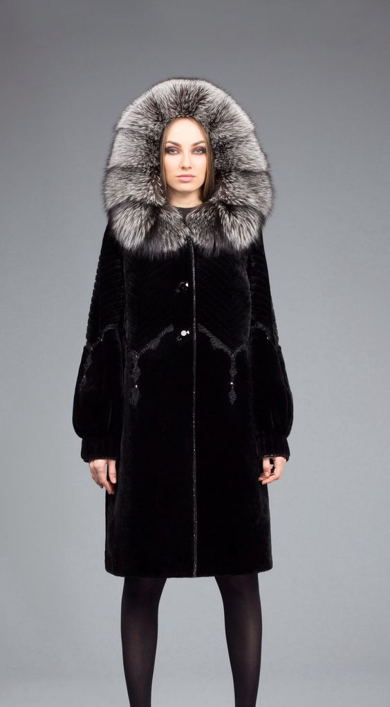 Sheared Mink Swakara Lamb and Silver Fox Fur Hooded Coat | Fur