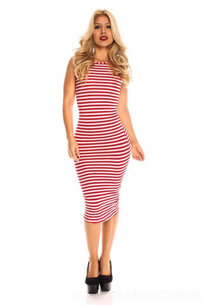 - Striped Print  - Midi  - Body-con Dress - Sleeveless  - Fits True To Size