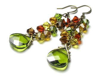 Pendientes de cristal Swarovski de colores por whimsydaisydesigns