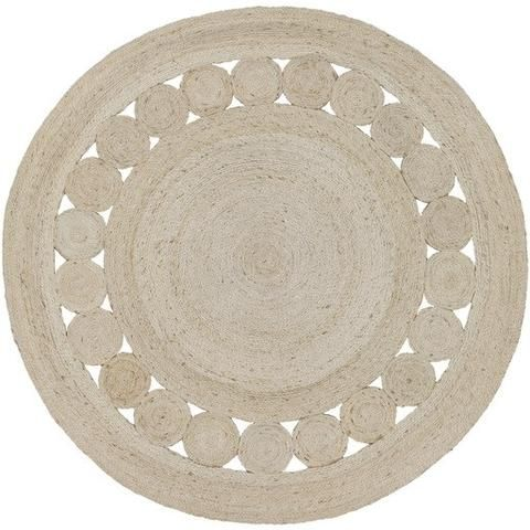 Mandala White Washed Round Jute Rug Jute Area Rugs Solid Area Rugs Jute Round Rug