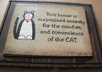 """9x7""""  #country #canvas  wood cats #house maintained for convenience of cat sign,  View more on the LINK: http://www.zeppy.io/product/gb/2/272188461366/"""