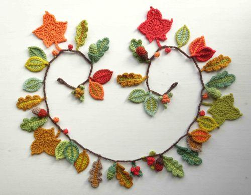 Autumn Garland Ta Dah Crochet Flower Patterns Crochet Wreath Holiday Crochet