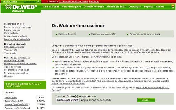 Dr.Web es una práctica solución antivirus online totalmente gratuita. Podemos subir nuestros archivos para su análisis y también analizar URLs sospechosas.