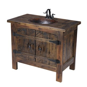 Rustic vanity with sink made from reclaimed barn wood for Recycled bathroom sinks