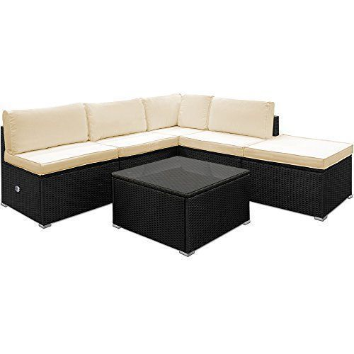 Poly Rattan Garden Sofa Set Corner Furniture Black Outdoor Patio