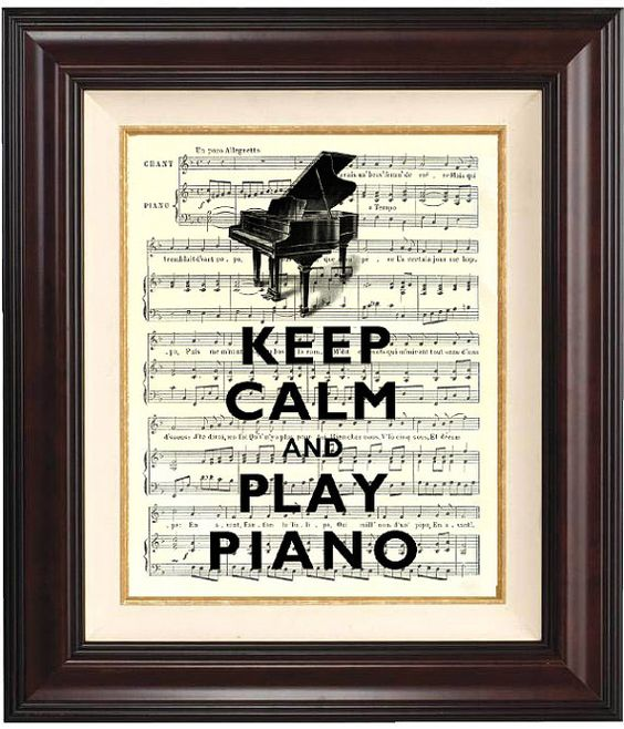 Keep calm and play piano Print 2 on old french music by DigiMarthe, $11.00
