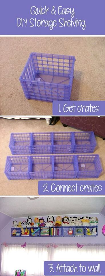 Stuffed animal organization using crates attached to a wall. This would also be a good way to organize other toys.