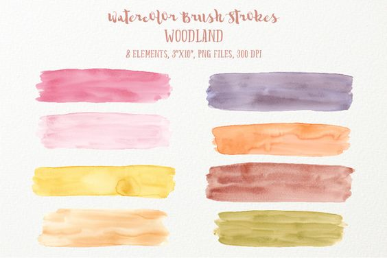 Watercolor Brush Strokes Woodland by Corner Croft on @creativemarket