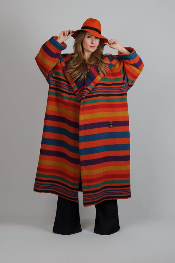 vintage 80s RAINBOW striped Wool Blanket Coat maxi graphic print