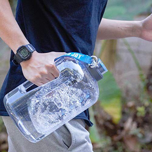 Bottled Joy 1 Gallon Water Bottle Bpa Free Large Water Bottle Hydration With Motivational Time Marker Reminder Leak Proof Drinking Big Water Jug For Camping Sp In 2020 Large Water Bottle Gallon