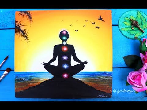 A Meditating Yoga Chakra Painting For Beginners Step By Step Tutorial Using Acrylic Colours Youtube Chakra Painting Painting Yoga Painting