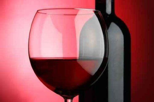 """Glass and Bottle of Wine over Red Background - 30""""W x 20""""H - Peel and Stick Wall Decal by Wallmonkeys by Wallmonkeys Wall Decals, http://www.amazon.com/dp/B00958KGUW/ref=cm_sw_r_pi_dp_XtUCrb0HXNWC9"""