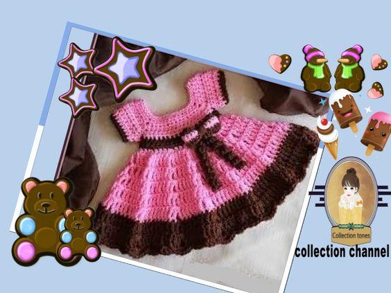 كروشيه فستان كلوج خطوه بخطوه Crochet Easy Dresss Tutorial Step By Step Crochet Baby Baby Dress Tutorials Crochet Baby Dress