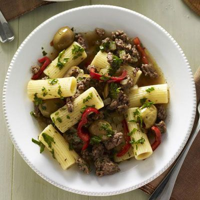 Rigatoni beef and olives on pinterest for Good dinner recipes with ground beef
