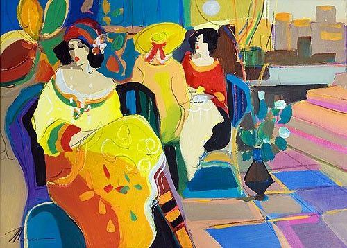Acrylic on Canvas Original Signed Painting by Isaac Maimon Women at a Cafe Unique Art: