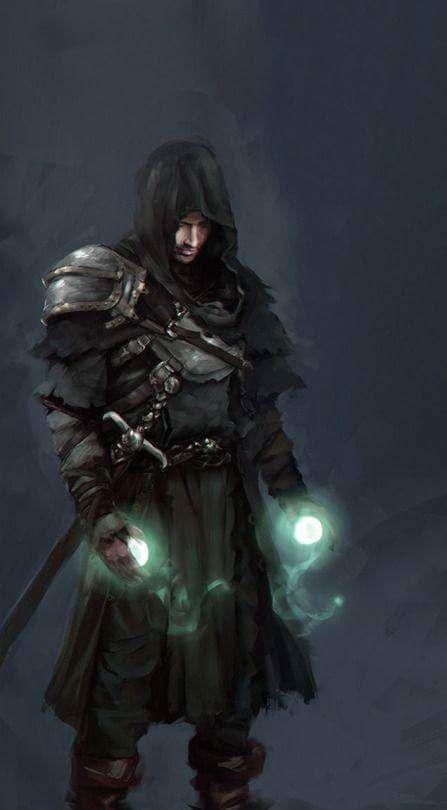Black Knight Ranger Sword Long Spell Magic Casting Cast Light Sphere Circle Blue RPG RULES