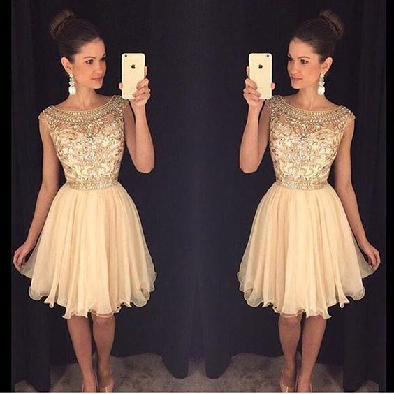 2016 Homecoming Dresses Lace Applique Crystal Beading Short Graduation Dress With Jewel Neck Zip Back Short Length Formal Party Ball Gowns Short Dress Sparkly Dresses From Kissbridal001, $101.39| Dhgate.Com