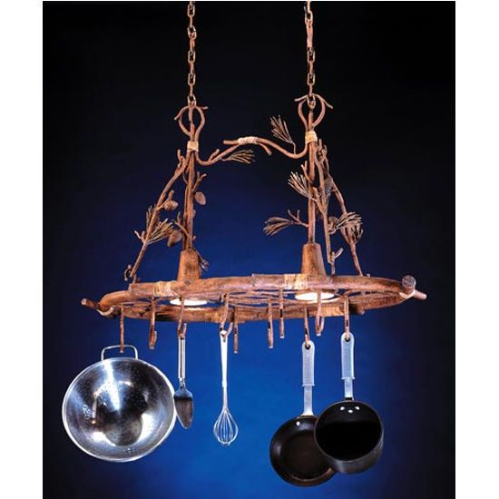 Pot Racks - Ponderosa Pot Racks with Downlights by Steel Worx - Featuring hand-wrought pinecones, branches and tufts of straw, the Ponderosa pot rack from Steel Worx is as individual as an element of nature.