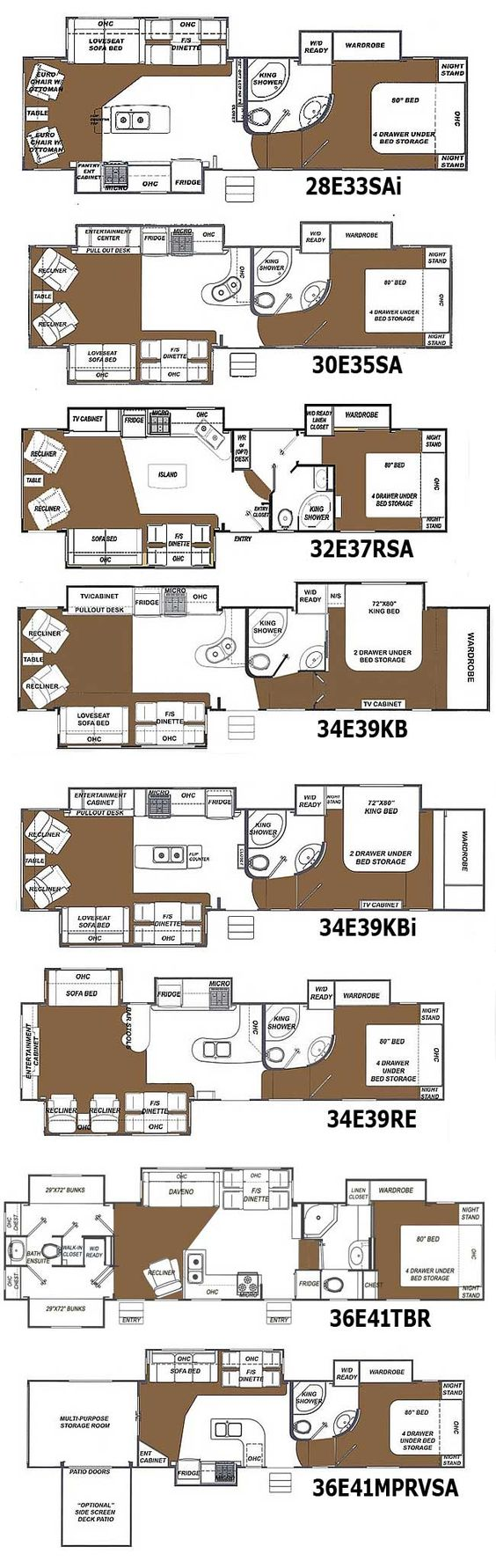 Continental coach 43 double bedroom floorplans trailer travail pinterest double bedroom rv and rv living