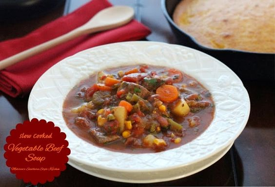 Melissa's Southern Style Kitchen: Slow Cooked Vegetable Beef Soup