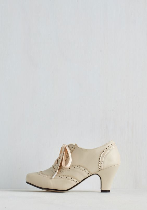 Dance Instead of Walking Heel in Cream. This item was picked by you in our Be the Buyer Program and will be sold exclusively online at ModCloth! #white #modcloth