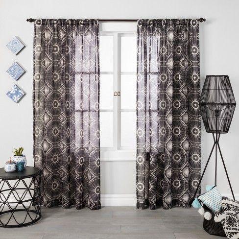 Medallion Sheer Curtain Panel Black Opalhouse Panel Curtains