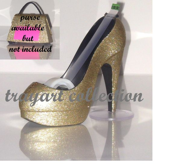 Gold sparkle High Heel Stiletto Platform Shoe TAPE DISPENSER office supplies - trayart collection. $25.00, via Etsy.